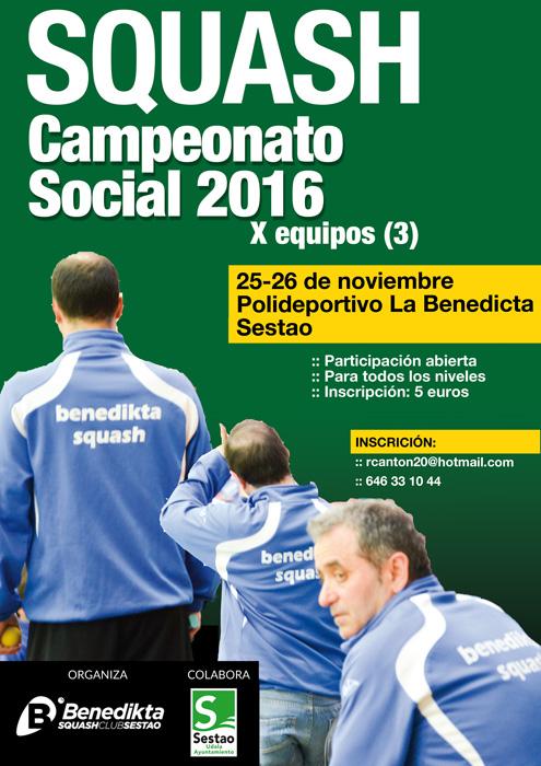 Campeonato social de Squash organnizado por el Benedikta Squash Club